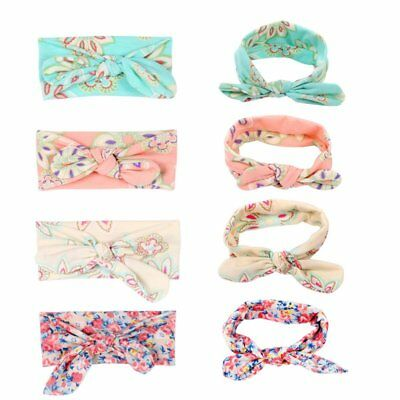 4pcs Newborn Headband Cotton Elastic Baby Print Floral Hair Band Girls Bow-knot