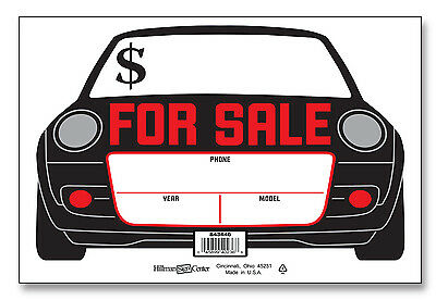 """(Pkg of 2) Plastic 8"""" x 12"""" CAR AUTO SHAPED FOR SALE SIGNS White Black Red Sign"""