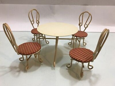 Vintage Set of 5 Pieces table and chairs Doll House Furniture Metal ( Taiwan  )
