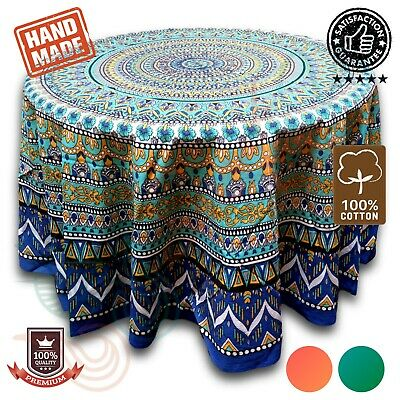 Cotton Geometric Mandala Floral Tablecloth Round 88 Inches & Square 70x70 Blue
