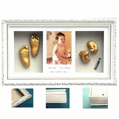 New Baby Gift 3D Plaster Casting Kit with White Frame Gold Hand Foot Casts