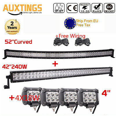 52'' 300W LED Curved Combo Work Light Bar +42inch 240W+4pcs 18W Spot Offroad SUV