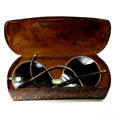 ANTIQUE SPECTACLES SUNGLASSES with Metal Case For repair