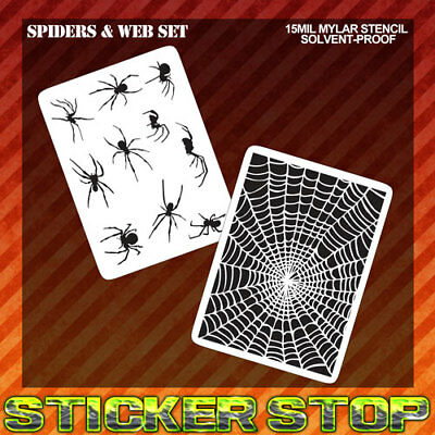SPIDER WEB MYLAR STENCILS (Set 2) (Airbrush, Craft, Texture, Micro, Re-usable)