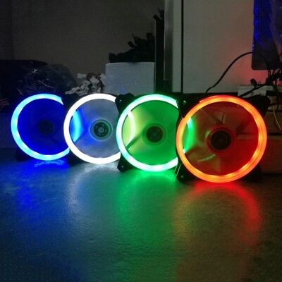 AU RGB White LED Neon Quite Clear 12cm For PC CPU Computer Case Cooling Fan 12V