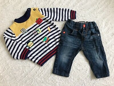 Baby Boy Winter Christmas Outfit Set Next Trousers TU Knitwear Jumper 3-6M