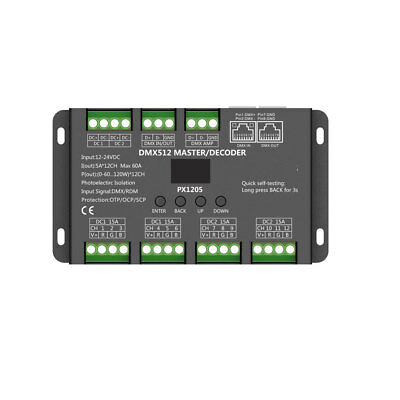 12Ch Dmx Led Decoder Interface - Euchips Px1205 Oled-Display - 5A/ch 60A Total