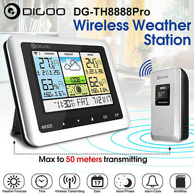 Digoo LCD Wireless Weather Station Thermometer Sensor Indoor Outdoor Alarm Clock