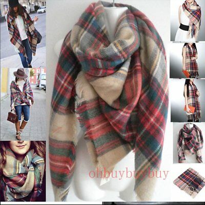 "60"" Large Square Plaids & Checks Tartan Scarf Shawl Neck Wrap Blanket Cozy Girls"