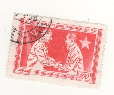 1957 North VIETNAM 100d. Red 40th Anniversary of Russian Revolution SG#N72 USED