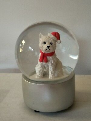 VUE Jingle Bells Westie Dog with Christmas Hat Musical Snowglobe RRP$49.99