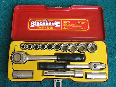 "SIDCHROME 15 PIECE SOCKET SET No. 224-1,  1/2""  DRIVE,, SIDDONS INDUSTRIES, VGC."