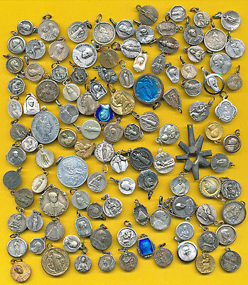 B106) Lot of 100 vintage heavy silvered Religious medal varied St Our Lady ...