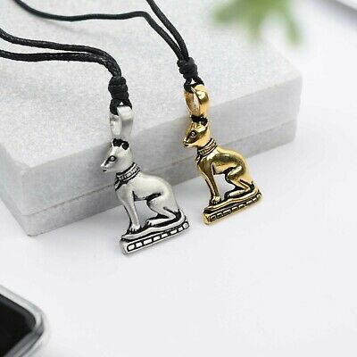 Eyptian Bast Cat Silver Pewter Charm Gold Brass Necklace Pendant Jewelry