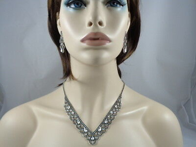 Jewelry-Set-Necklacet+Earring-Bridal_Fashion_Party Silve/Black