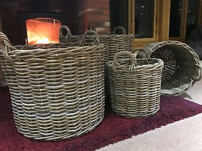 Round rattan wicker baskets for logs & storage, nice & sturdy, 4 sizes available