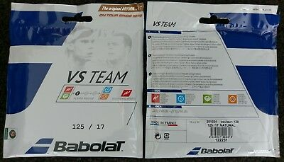 2x 12m Packets of Genuine Babolat VS TEAM Natural Gut 1.25mm Tennis String