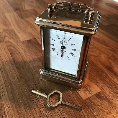 Fine 1980's French L'Epee Brass Timepiece Mantel Carriage Clock with Key