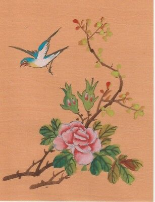 Hand Painted Ink & Gauche Japanese Miniture Painting wBird on Rice Paper c1930's