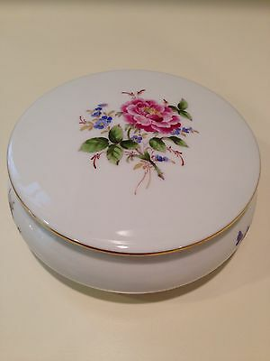 "Hochst ""Rose"" Hand-Painted Porcelain Covered Box Made in Germany New"