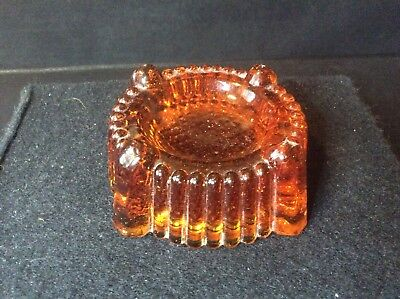 A Scarce Victorian Amber Pressed Glass Piano Insulator/ Rest Or Castor Cup