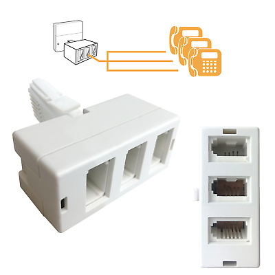 3 Way BT Telephone Socket Splitter - Triple - 3 Sockets to 1 Plug / Rj11 Phone