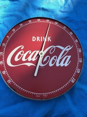 "Vintage 1950's Coca Cola Soda Pop Gas Station 12"" Metal Thermometer Sign 495A"