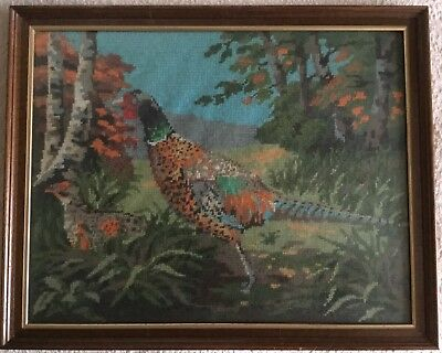 LOVELY VINTAGE 1930's 1940's COUNTRY SCENE COUNTRY SPORTS PHEASANTS TAPESTRY FAB
