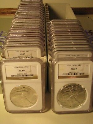 1986 - 2018 American Silver Eagle 33 Coin Set Ngc Ms69 Brown Premium Coins Pq
