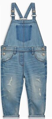 New Ex Next Girls Denim Dungarees. Age 2 3 4 5 yrs RRP £21