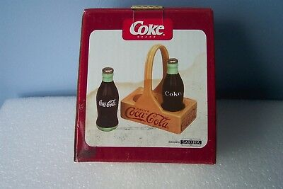 Coca Cola 3 Piece Salt and Pepper Set all Ceramic Beach Party  Shakers & Holder