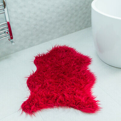 Cosy Red Fluffy 60x90cm Bedroom Faux Fur Cheap Non Slip Teen's Bedroom Mat Rugs