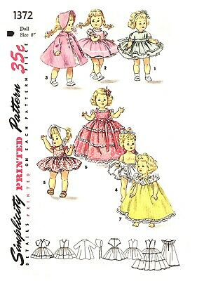 """Doll Clothes Suitable For Alexander -Kins Ginny Muffie Sew Pattern Sz 8""""# 1372"""