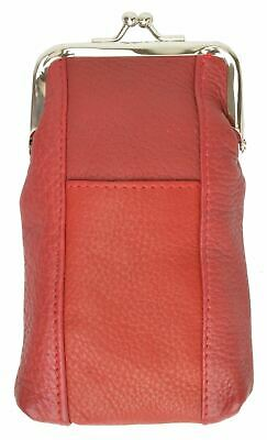 Cigarette Leather Case [Red] w/ Lighter Pouch & Clip Top Regular and 100's
