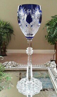 FABERGE Imperial CZAR Cobalt Blue Cased Cut to Clear Crystal Wine Goblet SIGNED