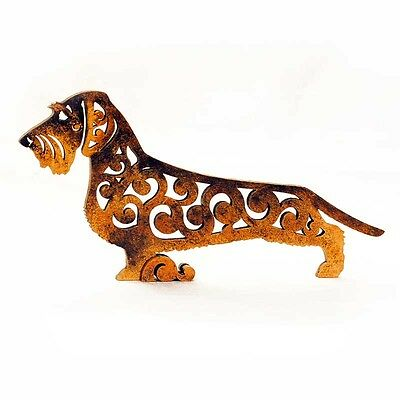 Wirehaired dachshund figurine, Boar, statuette made of wood