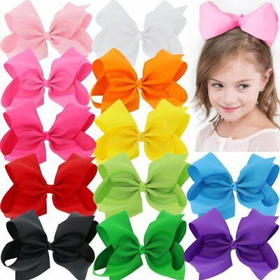 "Hair Bows For Girls Kids Alligator Clips Ribbon 12 Piece 8"" Grosgrain Boutique"