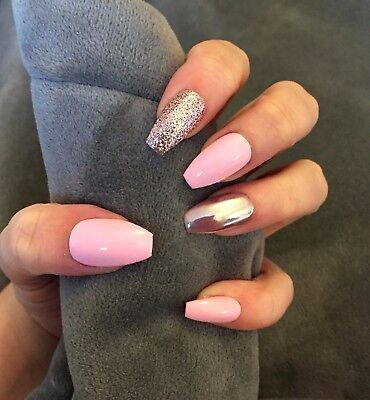 FALSE NAILS - Baby Pink, Glitter, Chrome Accents - Stick On - The Holy Nail