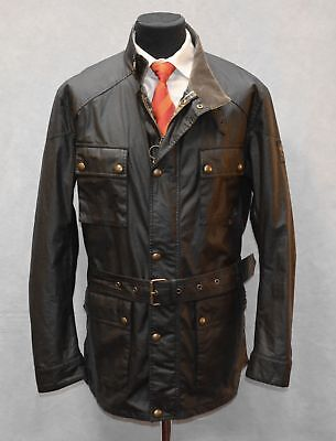 B70 NEW BELSTAFF Roadmaster Patch Pocket Black Waxed Cotton Jacket Size 56 $795