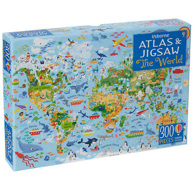 Usborne Atlas & Jigsaw The World - Children's 300 Piece Puzzle & Picture Book