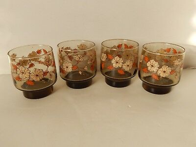 "Lot of 4 Libbey Smoke Brown Flower Leaf Accent 3 3/8"" Juice Glasses Harvest Fall"