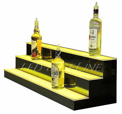 "44"" LED LIGHTED BAR SHELVES, 3 Step, LED Liquor Bottle displ, Display Shelving"