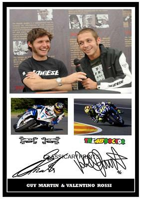 089  Guy Martin And Valentino Rossi Signed Reproduction Print Size A4