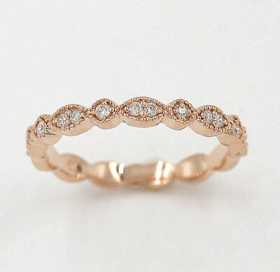 Half Eternity Art Deco Diamond Wedding Ring.14K Solid Gold Dainty Matching Band.