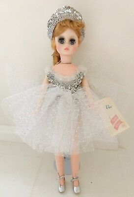 """Vtg MADAME ALEXANDER 1960's Elise Silver Ballerina Doll 17"""" In Box Stand Tagged"""