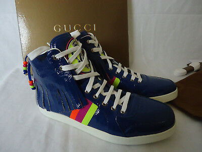 9262470d6 $595 GUCCI RARE S/S 2009 Native Removable Fringe High Top BLUE US11 216397