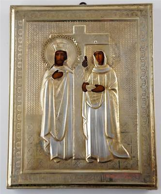 Antique Russian Orthodox Icon St.Constantine St.Helena w/Gilt Oklad late 1800s