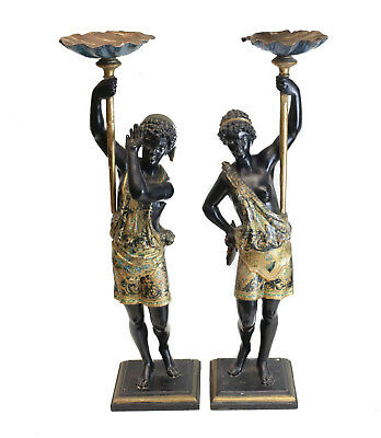 Pair of Continental Carved Blackamoors Figures, 19th century polychrome and gilt