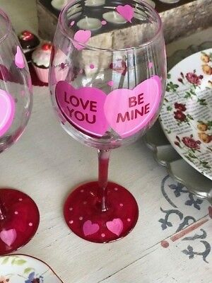 Pier 1 Valentine S Day Hand Painted Wine Glass Conversation Heart Be
