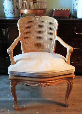Vintage Arm Chair French Louis XVI Style White Washed Wood/Cane Seat and Back